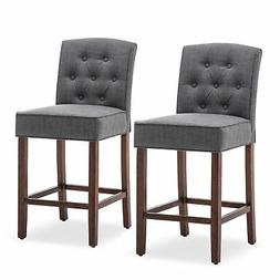 Set of  Tufted Upholstered Counter Height Barstool Gray Dini