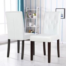 Set of 2 White Leather Dining Chairs with Tufted Backrest Ki