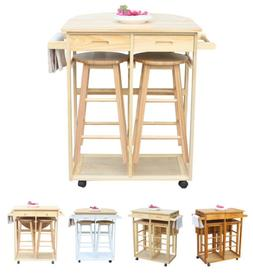 Set of 3 Rolling Wood Kitchen Island Trolley Cart Storage Di