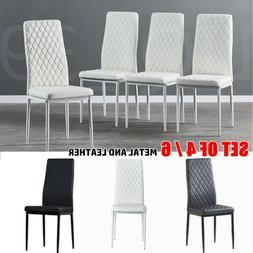 Set of 4/6 Black/White/Gray Faux Leather Upholstered Dining