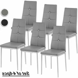Set of 4-6pc Kitchen Dining Chairs Leather Cushion Side Chai