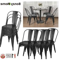 Set of 4/8/12 Iron Metal Dining Chair Stackable Side Chairs
