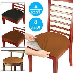 Set of 4/8 Stretch Removable Washable Dining Room Chair Seat