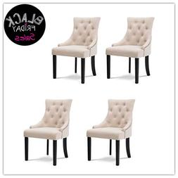 Set of 4 Beige Fabric Dining Chairs Elegant Tufted Pattern A