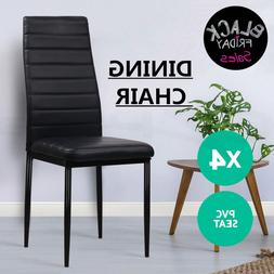 Set of 4 Black Dining Chairs Comfortable Backrest Leather Di