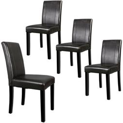 Set of 4 Brown Dining Parson Chair Armless Kitchen Room Leat