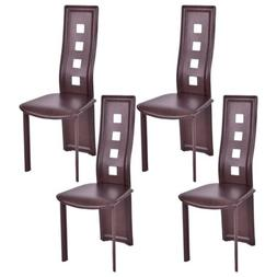 Set of 4 Brown Frame High Back Armless Dining Chairs Seats H