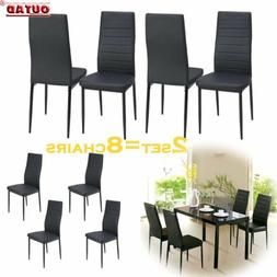 Set of 4 Brown Leather Contemporary Elegant Design Dining Ch