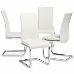 Set of 4 Baxton Studio Cyprien White Faux Leather Dining Cha
