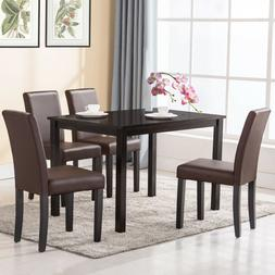 Set of 4 Dining Chair Kitchen Dinette Room Brown Leather Bac