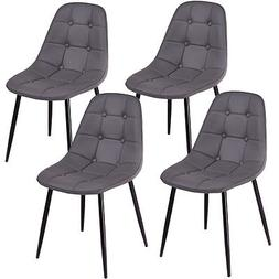Set of 4 Dining Chair PU Leather Armless Metel Leg Tufted Ac