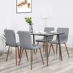 Set of 4 Dining Chairs Fabric Metal Legs Side Chair Upholste