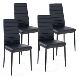 Set of 4 Dining Chairs High Back PVC Padded Seat Iron Feet