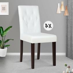 White Set of 4 Dining Chairs Leather Kitchen Dinette Room Tu