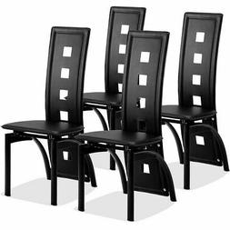 Set of 4 Dining Chairs PVC Leather Iron Frame High Back Home