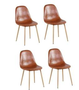 Set of 4  Dining Chairs with PU Leather Cushion Seat and Met
