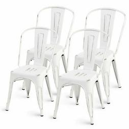 Set of 4 Distressed Style Dining Side Chair Stackable Bistro