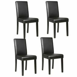 Set of 4 Elegant Design Genuine Leather Formal Dining Parson