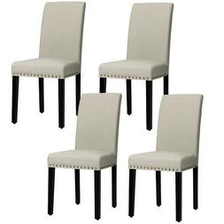 Set of 4 Fabric Dining Chairs Upholstered w/ Nailhead Trim a