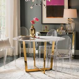 Set of 4 Ghost Dining Side Chair in Transparent Crystal Tabl
