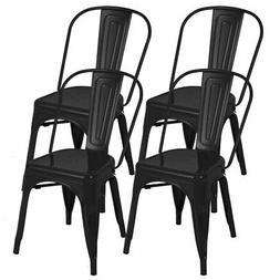 Set of 4 Glossy Metal Dining Side Chairs Stackable Modern Di