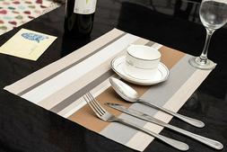 Set of 6 Gray Line PVC Non Slip Dining Table Washable Place