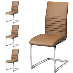 Set of 4 Kitchen Dining Chair High Back PU Leather with Chro