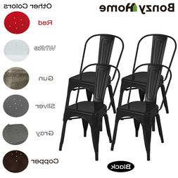 Set of 4 Metal Dining Chairs Glossy Stackable Side Chairs He