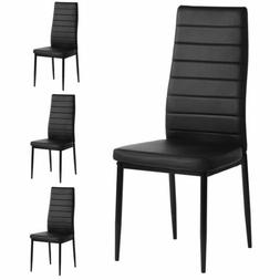 4pcs Kitchen Dining Chairs Leather Cushion Side Chairs w/Stu