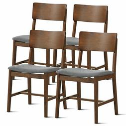 Set of 4 Mid Century Modern Dining Side Chairs Fabric Uphols