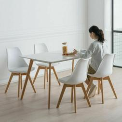 set of 4 Modern Soft-clad Dining Side Chair Simple Solid Woo
