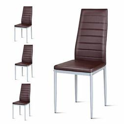 Set of 4 PVC Leather Dining Side Chairs Elegant Design Home