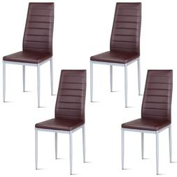 Set of 4 PVC Leather Dining Side Chairs Seat Elegant Design