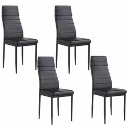 Set of 4 Stunning Dining Chairs Leather Backrest Dining Room