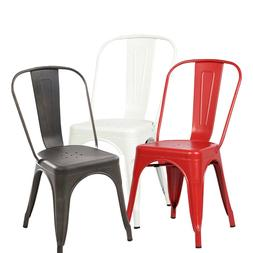 Set of 4 Tolix Style Dining Side Chair Stackable Bistro Cafe