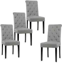 Set of 4 Tufted Dining Chair Parsons Upholstered Fabric Chai