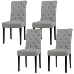 Set of 4 Tufted Dining Chairs Parsons Upholstered Linen Fabr