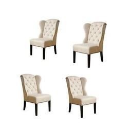 Set of 4 Tufted Linen Dining Chairs in Cream
