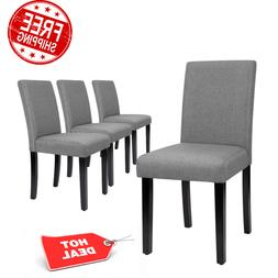 Set of 4 Upholstered Dining Chairs Kitchen Furniture Curved