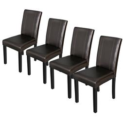 Set of 4 Urban Leather Dining Parson Chairs With Solid Wood