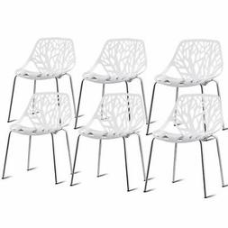 Set of 6 Birch Sapling Plastic Dining Side Chairs Stackable