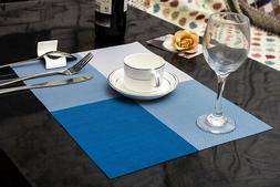 Set of 6 Blue PVC Non Slip Dining Table Washable Place Mats,
