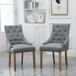 Set of 6 Dining Accent Chair Curved Shape Button Tufted Fabr