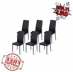 Set of 6 Dining Chair High Back PU Leather Kitchen Side Chai