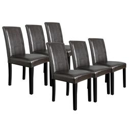 Set of 6 Dining Room Brown Parson Chairs Kitchen Formal Eleg
