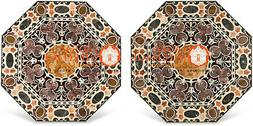 Set of Two Marble Dining Table Top Pietra Dura Inlay Hard St