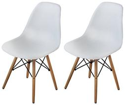 Buschman Set of Two White Eames-Style Mid Century Modern Din