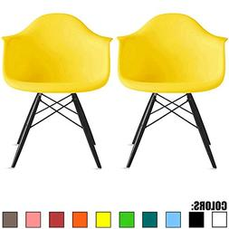 2xhome Set of Two  Yellow - Eames Chair Armchair Black Wood