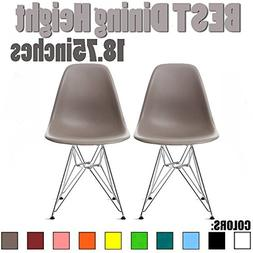 2xhome Set of Two - Eames Style Side Chair Chrome Wire Legs