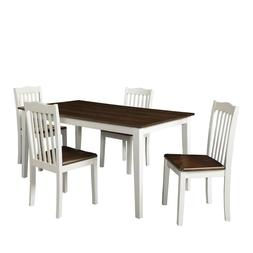 Dorel Living Shiloh 5-Piece Rustic Dining Set, Creamy White